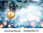 golden bauble hanging fir... | Shutterstock . vector #340609673