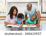 parents helping children doing... | Shutterstock . vector #340615937