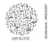 hand drawn doodle vector... | Shutterstock .eps vector #340621307