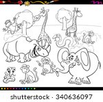black and white cartoon... | Shutterstock . vector #340636097