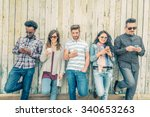 young people looking down at... | Shutterstock . vector #340653263
