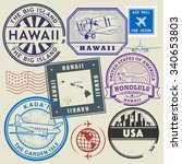 retro postage usa stamps set ... | Shutterstock .eps vector #340653803