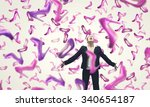 beautiful young woman in suit...   Shutterstock . vector #340654187