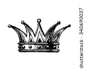 crown. hand drawn vector... | Shutterstock .eps vector #340690037
