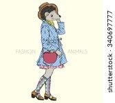 Hedgehog Girl Hipster With...