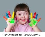 cute little girl with painted... | Shutterstock . vector #340708943
