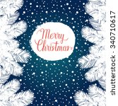merry christmas greeting card.... | Shutterstock .eps vector #340710617
