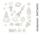 cartoon rockets set. stars and... | Shutterstock .eps vector #340716653