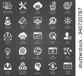 seo and development icon set on ... | Shutterstock .eps vector #340720787