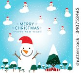 colorful pattern with christmas ... | Shutterstock .eps vector #340753463