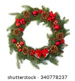 christmas wreath decoration on... | Shutterstock . vector #340778237