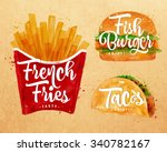 set of french fries  fish... | Shutterstock .eps vector #340782167