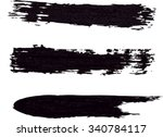 black ink stroke. collection of ... | Shutterstock .eps vector #340784117