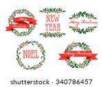 set of winter christmas wreaths ...   Shutterstock .eps vector #340786457