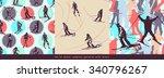 set of winter seamless patterns ... | Shutterstock .eps vector #340796267