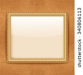 empty gold frame hanging on the ... | Shutterstock .eps vector #340806113