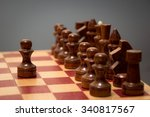 wooden chess board and pieces... | Shutterstock . vector #340817567