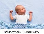 newborn baby boy in bed. new... | Shutterstock . vector #340819397