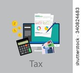 pay tax taxes money icon income ... | Shutterstock .eps vector #340824683