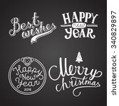 winter holidays calligraphy... | Shutterstock .eps vector #340829897