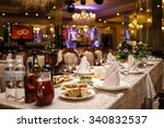 empty glasses in restaurant.... | Shutterstock . vector #340832537