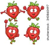 strawberry cartoon character... | Shutterstock .eps vector #340860497