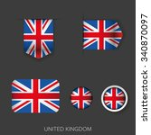uk flag ribbon vector set | Shutterstock .eps vector #340870097