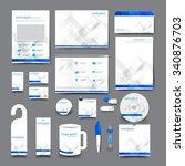 big set trifold flyer brochure... | Shutterstock .eps vector #340876703