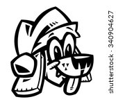 cartoon dog santa hat christmas | Shutterstock .eps vector #340904627