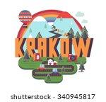 krakow in poland is beautiful... | Shutterstock .eps vector #340945817