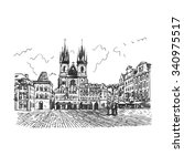 old town square in prague ... | Shutterstock .eps vector #340975517