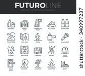 Modern thin line icons set of  outdoor recreation activity and hiking tourism. Premium quality outline symbol collection. Simple mono linear pictogram pack. Stroke vector logo concept for web graphics | Shutterstock vector #340997237