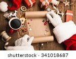 Santa Claus With Gifts And Wis...