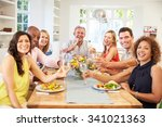 portrait of mature friends... | Shutterstock . vector #341021363
