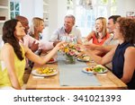 mature friends sitting around... | Shutterstock . vector #341021393
