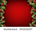 christmas red background with... | Shutterstock .eps vector #341026337