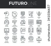 modern thin line icons set of... | Shutterstock .eps vector #341036657