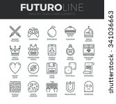 modern thin line icons set of... | Shutterstock .eps vector #341036663