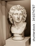 Small photo of ENGLAND, LIVERPOOL - 15 NOV 2015: Bust of Alexander the Great, captured at Walker Art Gallery, sepia tone