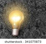 simple light bulbs on brown...   Shutterstock . vector #341075873
