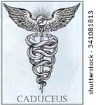 caduceus symbol of god mercury. ... | Shutterstock .eps vector #341081813