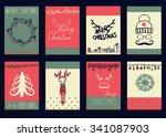 vector set christmas... | Shutterstock .eps vector #341087903