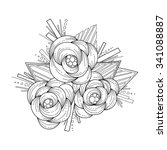 doodle art flowers. zentangle... | Shutterstock .eps vector #341088887