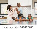 parents arguing in front of... | Shutterstock . vector #341092403