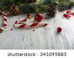 christmas candy canes on table...   Shutterstock . vector #341095883