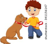 cartoon boy with his dog... | Shutterstock .eps vector #341156147