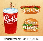set of  soda water  hot dog and ... | Shutterstock .eps vector #341210843