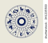 horoscope wheel of zodiac signs ... | Shutterstock . vector #341235503