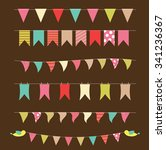 colored party flags set... | Shutterstock . vector #341236367