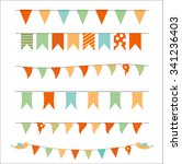colored party flags set... | Shutterstock . vector #341236403